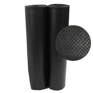 Rubber-Cal Diamond-Plate Rubber Floor Mats - 1/8 x 48-inch Rubber Runner  Black  8 Available Lengths