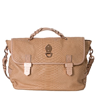 Mulberry 'Tillie' Peach Oversized Snake-embossed Leather Satchel