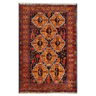 Afghan Hand-knotted Tribal Balouchi Light Brown/ Black Wool Rug (3'9 x 5'8)