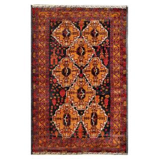 Afghan Hand-knotted Tribal Balouchi Light Brown/ Black Wool Rug (3'9 x 5'8)