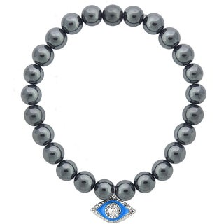 DB Designs Diamond Accent Evil Eye Stretch Bead Charm Bracelet