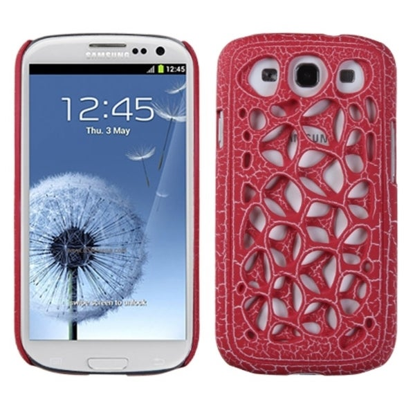 INSTEN Red/ Ridged Net Clip-on Phone Case Cover for Samsung Galaxy S3/ III i9300