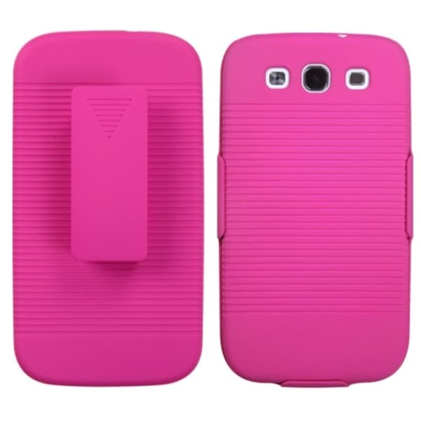 BasAcc Hot Pink Hybrid Holster Case for Samsung Galaxy S3/ III i9300