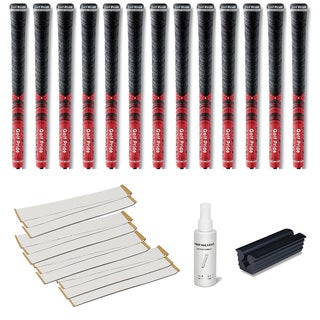 Golf Pride New Decade MCC Midsize Red - 13pc Grip Kit (with tape, solvent, vise clamp)
