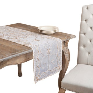Silver Hand-beaded Table Runner