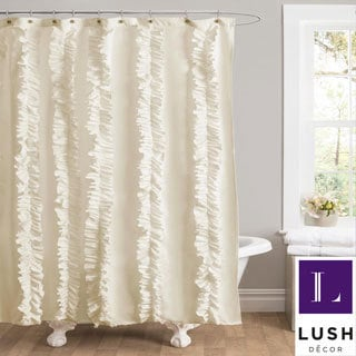 Lush Decor Belle Ivory Ruffled Shower Curtain
