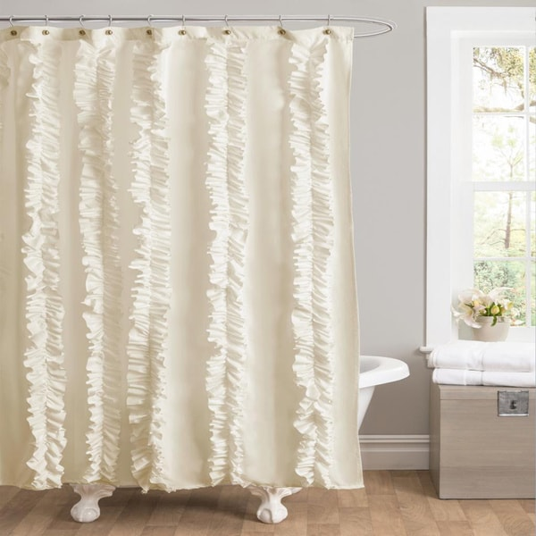lush decor belle ivory ruffled shower curtain 15566530