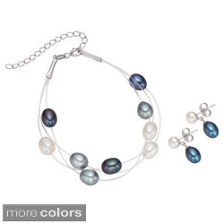 Pearlyta Sterling Silver Multi-colored FW Pearl Bracelet and Earring Set (7-8 mm)