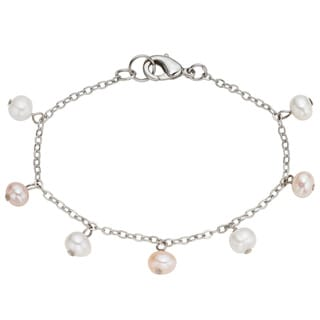 Pearlyta Stainless Steel FW Pearl Chain Anklet (4-5 mm)