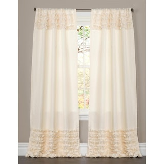 Lush Decor Skye Ivory Ruffled 84-inch Curtain Panel
