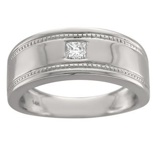 14k White Gold Men's 1/6ct Diamond Grooved Wedding Band (G-H, SI1-SI2)