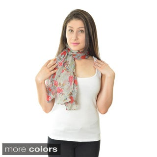 LA77 Women's Lightweight 100 Percent Polyester Floral Scarf