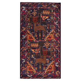 Afghan Hand-knotted Tribal Balouchi Dark Blue/ Brown Wool Rug (3'7 x 6'8)