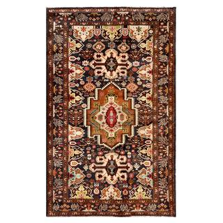 Afghan Hand-knotted Tribal Balouchi Black/ Brown Wool Rug (3'8 x 6'0)