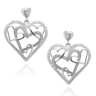 Sterling Silver Etched Cutout Heart Design Earrings
