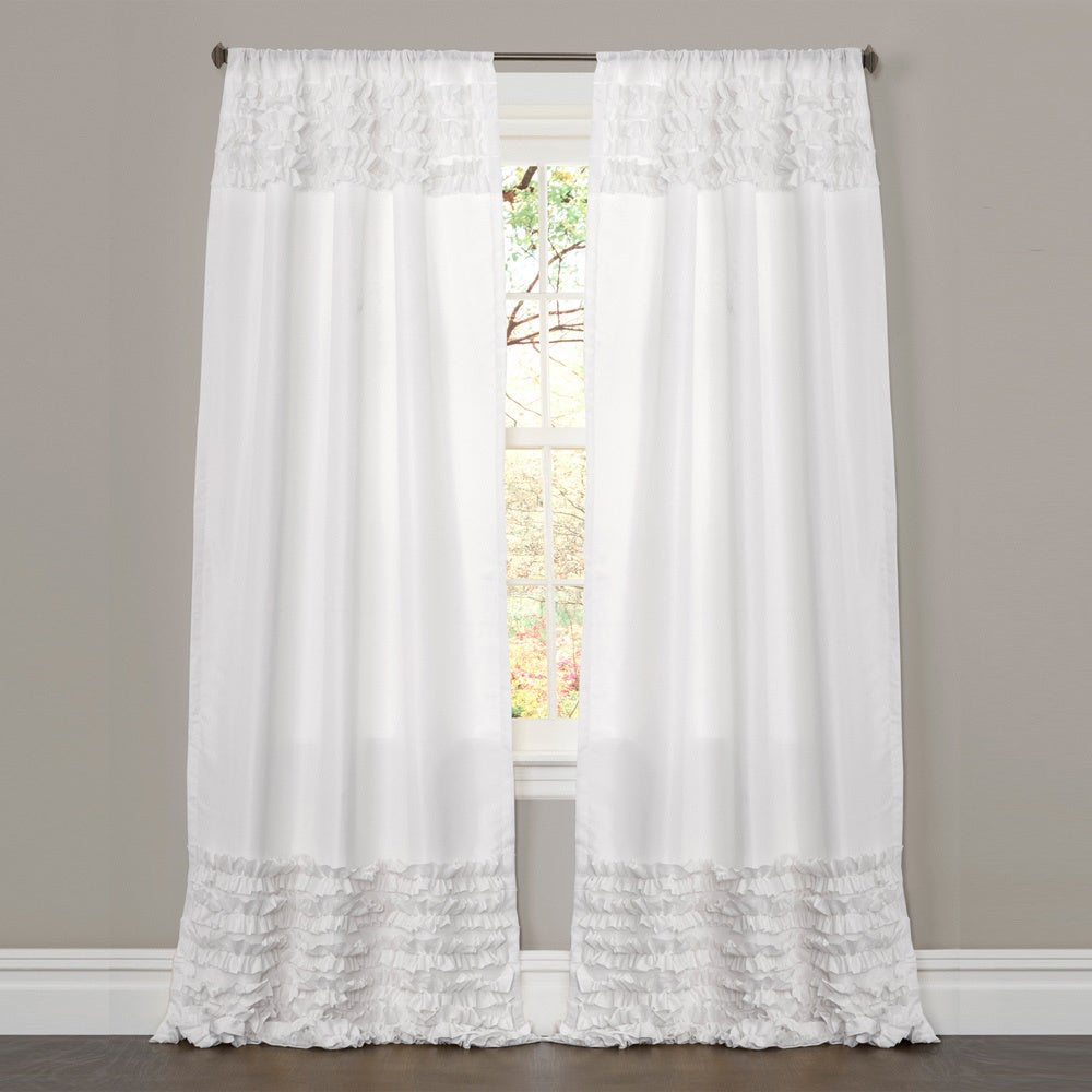 lush decor white 84 inch skye ruffled window curtain