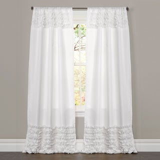 Lush Decor White 84-inch Skye Ruffled Window Curtain