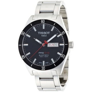 Tissot Men's T044.430.21.051.00 Silver Stainless Steel Swiss Quartz Black Dial Watch
