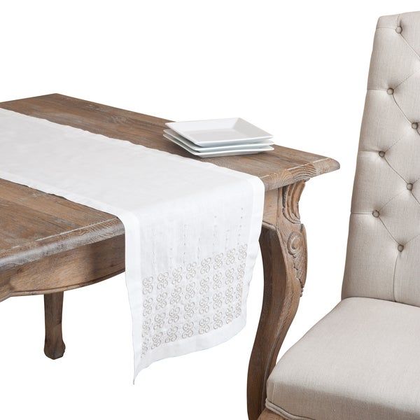 Ivory Embroidered Chain Link Table Runner