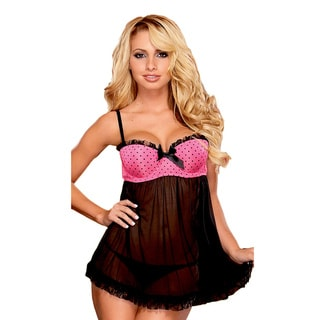 Hustler Women's Black and Pink Baby Doll Set