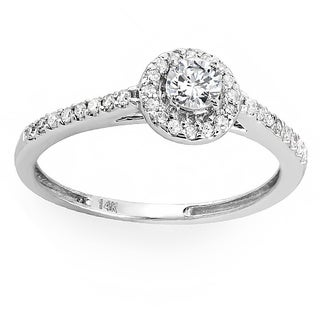 14k White Gold 1/2ct TDW Round Prong-set Diamond Engagement Ring (H-I, I1-I2)