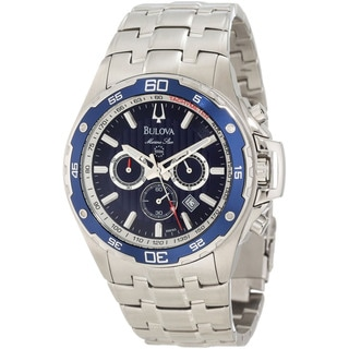Bulova Men's Marine Star Silver Stainless Steel Quartz Blue Dial Watch