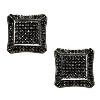Sterling Silver 1/5ct TDW Black Diamond Pave Stud Earrings