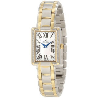 Bulova Women's Diamond Two-Tone Stainless Steel Quartz Mother-Of-Pearl Dial Watch