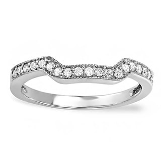 14k White Gold 1/5ct TDW Diamond Contoured Wedding Band (H-I, I1-I2)