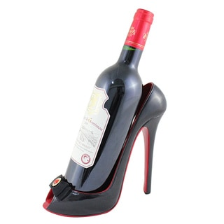 Jacki Design Black Peep Toe Wine Bottle Holder