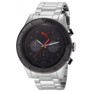 Puma Men's PU102821004 Silver Stainless-Steel Quartz Watch with Black Dial