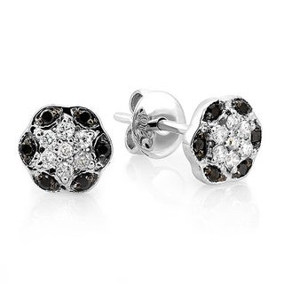 10k Gold 1/5ct TDW Black and White Diamond Flower Earrings (I-J, I2-I3)