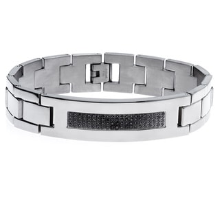 Stainless Steel 3/8ct TDW Black Diamond Bracelet