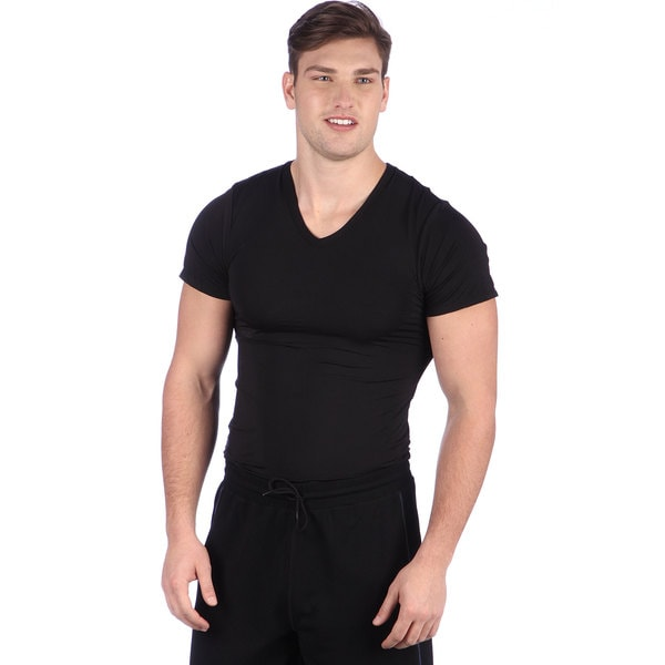Blue Line Men's Black Performance Microfiber V-neck Tee