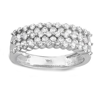 14k White Gold 1ct TDW Diamond Pave Anniversary Ring (H-I, I1-I2)
