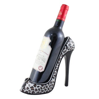 Jacki Design Silver Metallic Open-toed High Heel Leopard Wine Bottle Holder