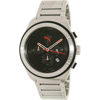 Puma Men's 'Edge' Stainless Steel Black Dial Chronograph Watch