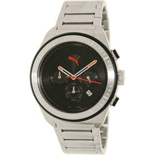 Puma Men's 'Edge' Stainless Steel Black Dial Chronograph Watch