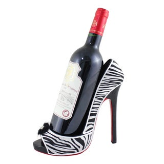 Jacki Design Zebra Peep Toe High Heel Wine Bottle Holder