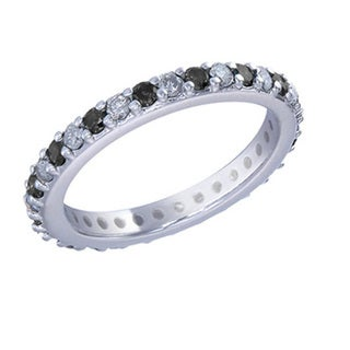 14k White Gold 1ct TDW Black and White Diamond Eternity Band (G-H, I1-I2)
