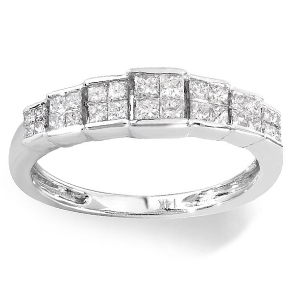 14k White Gold 1/2ct TDW Invisible-set Princess Diamond Engagement Ring (H-I, I1-I2)
