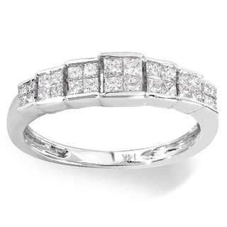 14k White Gold 1/2ct TDW Invisible-set Princess Diamond Engagement Ring (H-I, I1-I2)