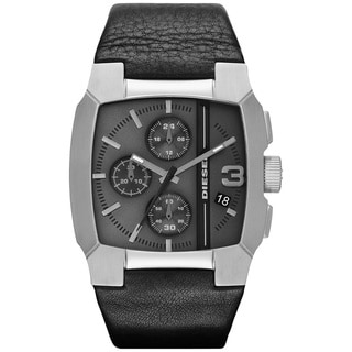 Diesel Men's Black Leather Strap Chronograph Watch