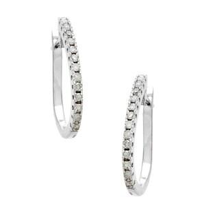 14k White Gold 1/4ct TDW Diamond Oval Hoop Earrings (H-I, I1-I2)