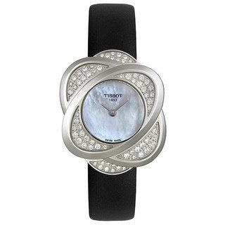 Tissot Women's T03.1.125.80 Black Leather Swiss Quartz Watch with Mother-Of-Pearl Dial