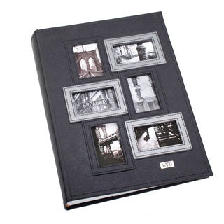 "Kleer Vu Black Leatherette 3D Collage Bookbound, Memo Pages 4""x6"" Album"