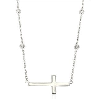 Molly and Emma Sterling Silver and Cubic Zirconia Sideways Cross Necklace