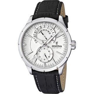 Festina Men's 'Retro' Black Leather Strap Watch