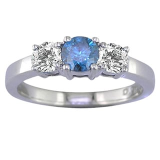 14k Gold 1/2ct TDW Blue and White Diamond 3-stone Ring (G-H, I1-I2)