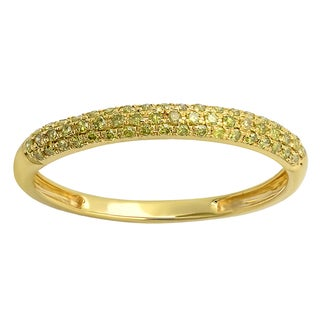 14k Yellow Gold 1/4ct TDW Yellow Diamond Pave Stackable Ring